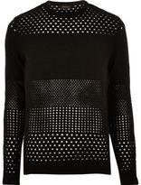 River Island MensBlack mesh knit sweater
