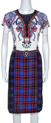 Mary Katrantzou Multicolor Check Printed Stretch Silk Murray Dress M