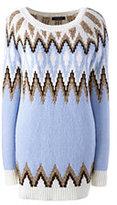 Lands' End Women's Petite Wool Blend Fair Isle Tunic Sweater-Yellow Dandelion Stripe