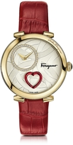 Salvatore Ferragamo Cuore Gold IP Diamonds Women's Watch w/Red Croco Embossed Strap