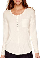 Liz Claiborne Long-Sleeve Scoopneck Button-Front Henley