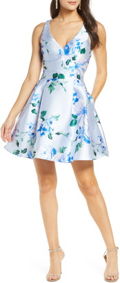 Sequin Hearts Floral Mikado Fit & Flare Dress