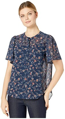Vince Camuto Elbow Sleeve Ditsy Floral Henley (Sapphire) Women's Clothing