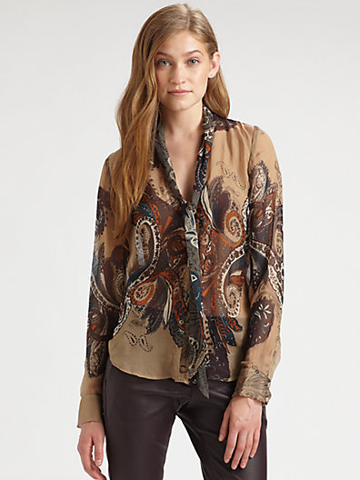 L'Agence Silk Paisley Tie-Neck Blouse