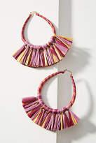 Anthropologie Tasseled Raffia Hoop Earrings