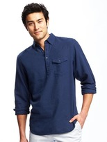 Old Navy Regular-Fit Classic Linen-Blend Popover Shirt for Men