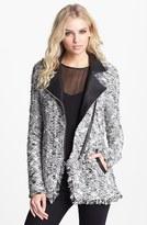 Ella Moss Faux Leather Trim Bouclé Jacket