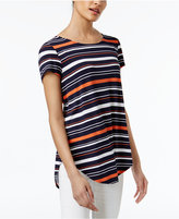 Alfani Petite Striped Shirttail T-Shirt, Created for Macy's