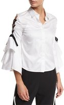 Jonathan Simkhai Lace-Up Bell-Sleeve Poplin Shirt, White/Black