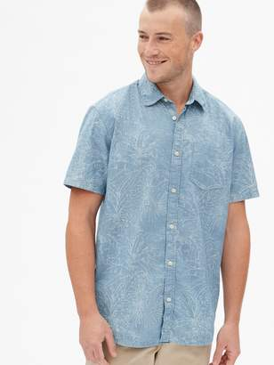 Gap Print Denim Short Sleeve Shirt