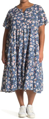 WEST KEI Woven Short Sleeve Babydoll Floral Dress