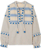 Dodo Bar Or - Tasseled Striped Cotton-gauze Blouse - Light blue
