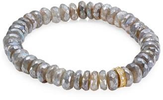 Sydney Evan 14K Yellow Gold, Diamond & Mystic Labradorite Rondelle Beaded Bracelet