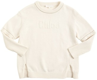 Chloé Logo Knit Cotton & Wool Sweater