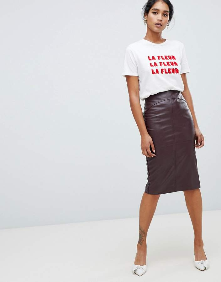 Oasis faux leather pencil skirt in burgundy