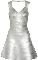 Herve Leger Breton metallic bandage mini dress