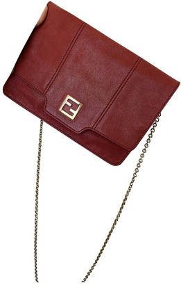Fendi Burgundy Leather Clutch bags