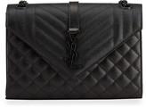 Triquilt Medium YSL Monogram Grain de Poudre V Flap Shoulder Bag