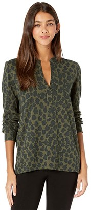 Majestic Filatures Leopard Print Long Sleeve Henley In Cotton Cashmere (Scarabe) Women's Clothing