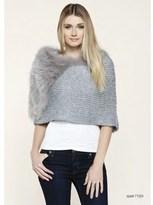DOLCE CABO Nautual Fur Knit Poncho.