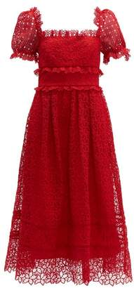 Self-Portrait Self Portrait Hibiscus Flower Guipure-lace Midi Dress - Womens - Red