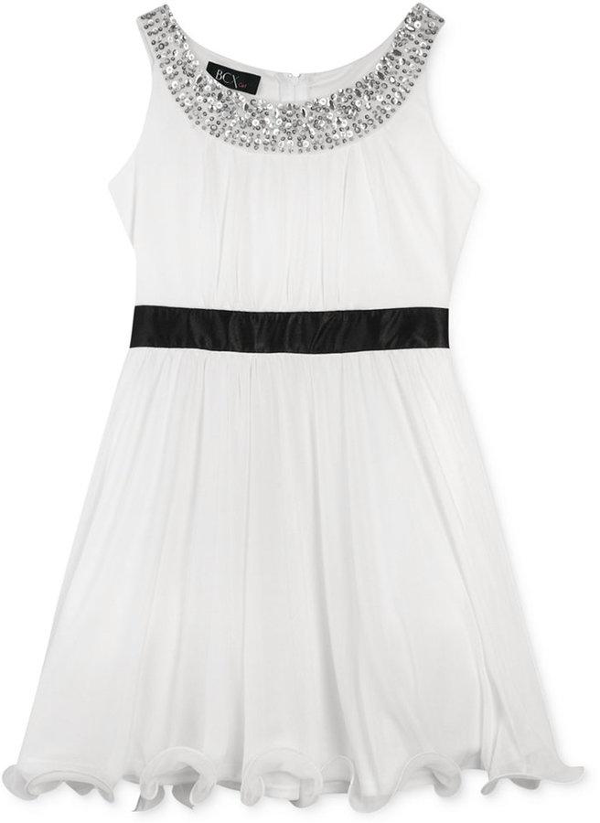 Amy Byer BCX Girls' Wire Hem Gem Neckline Dress