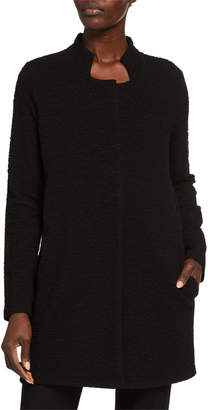 Eileen Fisher Plus Size Jacquard Knit Button-Front Stand-Collar Jacket