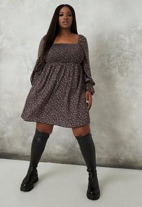 Missguided Plus Size Black Floral Shirred Bust Milkmaid Mini Dress