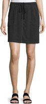 Max Studio Drawstring Waist Mini Skirt, Black