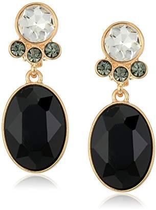T Tahari Uptown Jewels Women's Btgd Ovl Jet Cry Clip-On Earrings