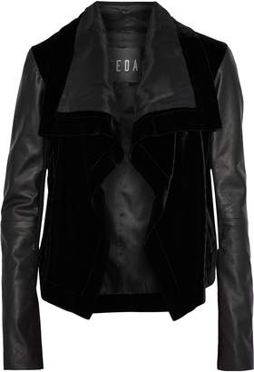 Veda Max Leather-paneled Velvet Jacket