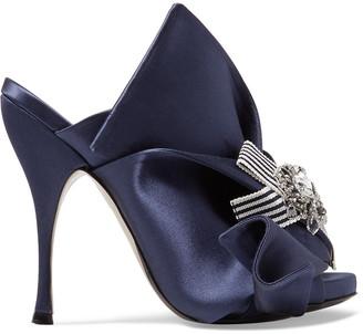 N°21 N21 Knotted Crystal-embellished Satin Mules