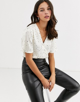 Qed London QED London wrap front bodysuit with black spot-White
