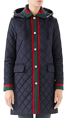 Gucci Women's Long-Sleeve Quilted Hooded Coat