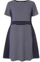 Dorothy Perkins Womens DP Curve Plus Size Navy Colour Block Fit And Flare Dress- Navy
