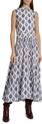 Chloé Ceramic Print Sleeveless Silk Maxi Dress