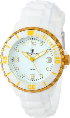 Burgmeister Women's Quartz Watch with White Dial Analogue Display and White Silicone Strap BM604-586F