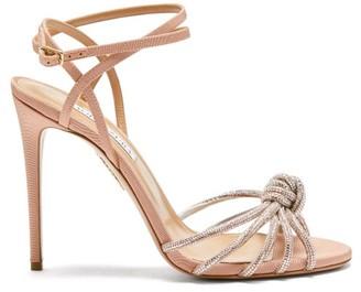 Aquazzura Celeste 105 Crystal-knot Grosgrain Sandals - Light Pink