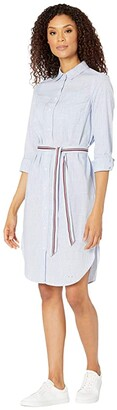 Tommy Hilfiger Adaptive Columbia Striped Tie Waist Shirtdress with Hidden Magnetic Closure (Nebulas Blue/Multi) Women's Dress