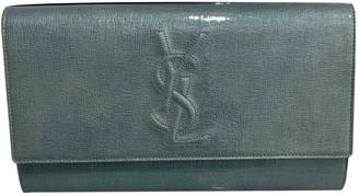 Saint Laurent Turquoise Patent leather Clutch bags