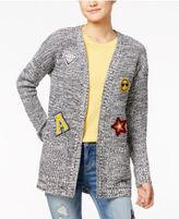 Hippie Rose Juniors' Patch Marled Open-Front Cardigan