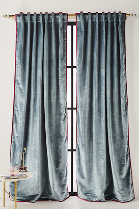 """Anthropologie Petra Velvet Curtain By in Blue Size 50"""" X 96"""""""