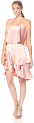 Halston Women's Strapless Flounce Skirt Satin Dress