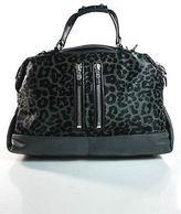 DKNY Gray Green Leather Calf Hair Animal Print Satchel Handbag