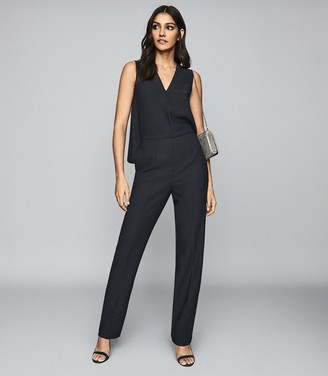 Reiss Marty - V Neck Jumpsuit in Navy