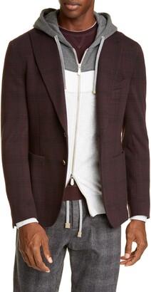 Eleventy Trim Fit Plaid Cotton Blend Sport Coat