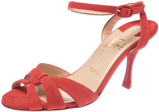 Christian Louboutin Tangerine Suede Trezuma Ankle Strap Sandals Size 37