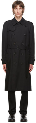 Burberry Black Kensington Heritage Long Trench Coat