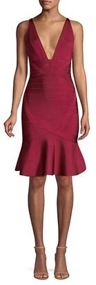 Herve Leger Basics Flounce-Hem Bandage Dress