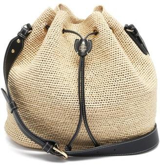 Mark Cross Joni Leather-trimmed Raffia Bucket Bag - Black Multi